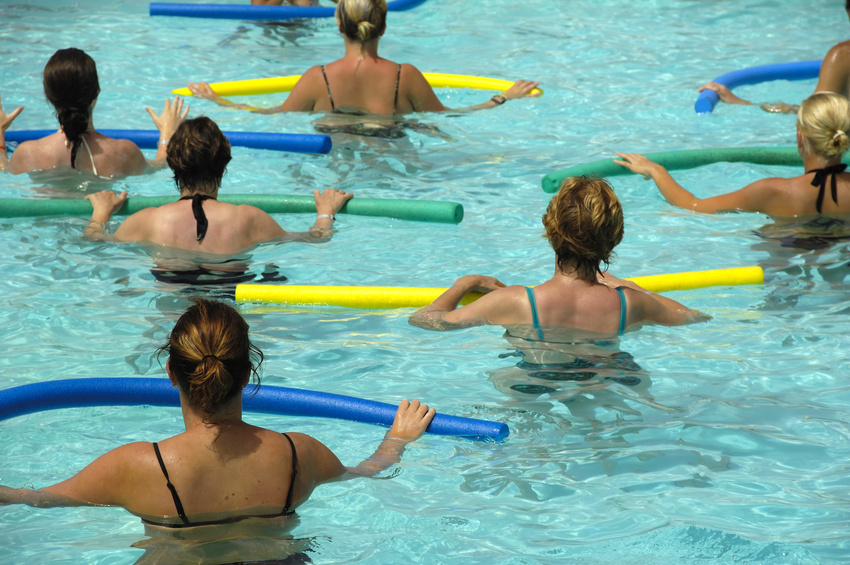 Women doing water aerobic in pool